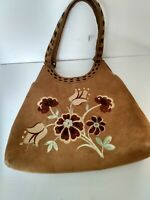 Vintage Suede Leather Hobo Handbag with embroidered Flower Design