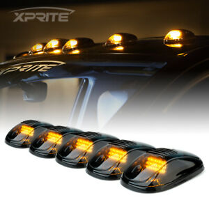 5pcs Roof Top Cab Marker Running LED Lights Smoked Lens Amber Fog Lights Driving