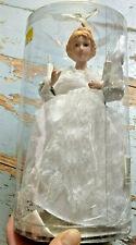 Christmas Angel Tree Topper 10 Lights Porcelain Head Hands Dress w/Lace Nip