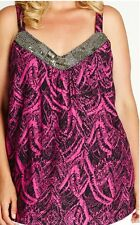 Plus Size Ladies Cami Sleeveless Bling Neckline Adjustable Straps Top Size 14-16