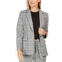CALVIN KLEIN NEW Women's Petite Plaid One-button Lined Blazer Jacket Top 8P TEDO