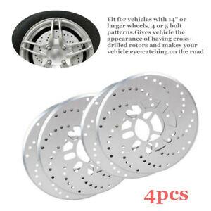 """4Pcs/Set 7.5cm/ 2.95""""Tone Aluminum Cross Drilled Car Disc Brake Rotor Covers Kit"""