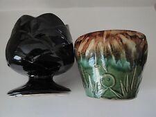 2 Vintage McCoy planters  vases #600 black & star sun burst.