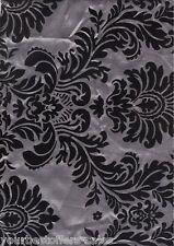 "Taffeta Fabric By The Yard Damask Fabric Black Fabric Sewing Fabric Silver 60"""