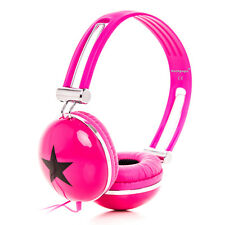 STAR OVER EAR LIGHTWEIGHT STEREO HEADPHONES KIDS CHILDS GIRLS IPOD IPHONE PINK