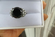 Huge 9 ct Black Diamond  & 1ct white diamond 18k white gold Engagement ring  6.5