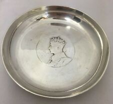 KING GEORGE VI QUEEN ELIZABETH BRITISH HISTORICAL STERLING SILVER PIN COIN DISH