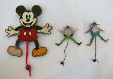 Mickey Mouse Disney & 2 OOAK Mini Old Timer Wood Jumping Jack Pull String Toy