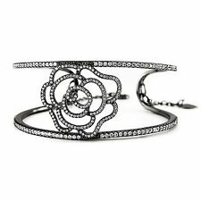 Caratina Rhodium Plated Sterling Silver Cubic Zirconia Rose Bracelet SBF1572BK
