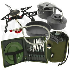 Fishing Camping Day Cutlery Set & 3pc Kettle, Pot & Pan Set & Stove & Gas Cover