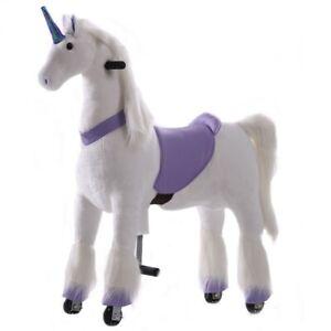 Unicorn Ride On Animal Toy for Kids, Purple - Large