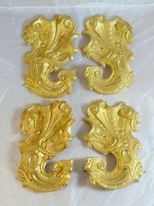 SERIE 4 ORNEMENTS XIXème LAITON Doré - LARGE SET OF 4 ORNAMENT XIXth / 18x11 cm