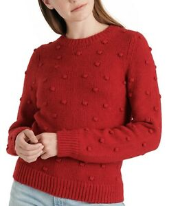 Lucky Brand Bobble Crewneck Sweater Red
