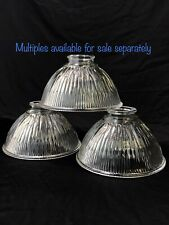 "Vtg Art Deco Holophane Style Industrial Ribbed Glass Lamp Shade Globe 2 1/8"" 1/4"