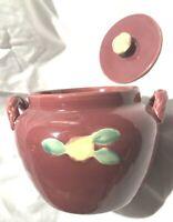 Vintage Red COORS Pottery Bean Pot Handled Rose Crock Cookie Jar GUC