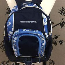 Eastsport Navy Floral Trim Backpack Multi Compartment BookBag School Travel Camp
