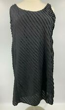 Eileen Fisher Women's Shift Dress - Black Ruffles, Silk - Plus Size 22W