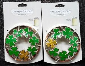Yankee Candle ILLUMA LID Candle Topper Shamrocks Green & Gold Lot of Two