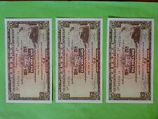 The Hong Kong & Shanghai Banking Corp.1975 $5 Banknote 3pcs Running Number (UNC)