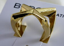 BCBGeneration By BCBG Gold Plated Crisscross Cocktail Ring Size 7 NWT