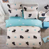 Single Queen King Bed Set Pillowcase Quilt Duvet Cover Cotton Blend tAUL Cat