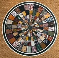 Semi Precious Stones Inlaid Sofa Table Round Coffee Table Size 36 x 36 Inches