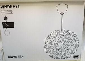 """IKEA Vindkast Pendant Lamp CEILING LIGHT Modern Art WHITE Chandelier 20"""" Ruffled"""