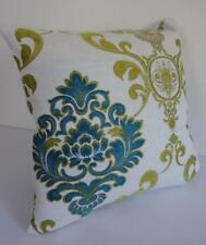 60cm Yellow-Gold Deep Turquoise Jacquard Damask Acanthus Scroll Cushion Cover