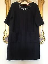 JOULES Navy Blue BOUCLE Jewelled NECK LINE Shift DRESS Size 14 New With Tags