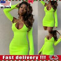 Women's Sexy Cross Criss V Neck Long Sleeve Bodycon Mini Dress Party Clubwear US