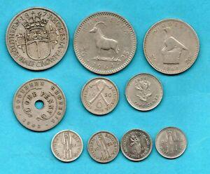 10 OLD RHODESIA COINS 1936 - 1968. JOB LOT.