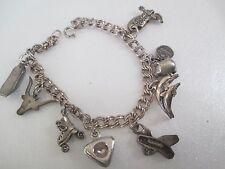 Vintage Sterling Silver Charm Bracelet with 9 Charms--728