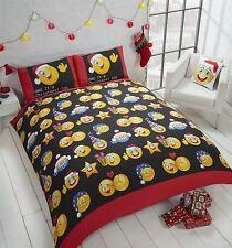 Noël Festif Emoji OMG LOL rouge blanc noir housse couette simple
