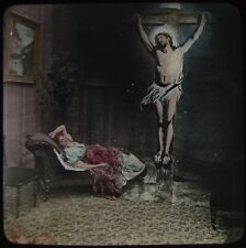 Glass Magic Lantern Slide VICTORIAN LADY ON CHAISE LOUNGE WITH JESUS C1890 PHOTO