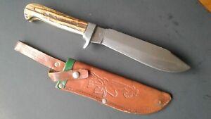 Vintage Bowie Knife Solingen German Widder Hunting  Stag Fighting Dagger W/ Case