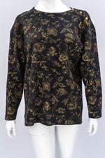 ST MICHAEL Black Wool Jumper 10 EU 38 Gold Pattern Shoulder Button Vintage M&S