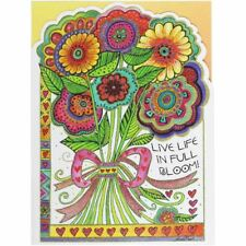 """Laurel Burch Birthday Card - """"Live Life in Full Bloom"""" With Envelope"""