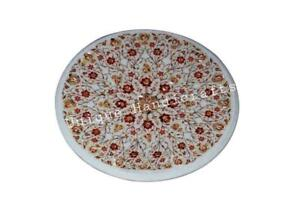 Marble Inlay Breakfast Table Top Mop Semi Precious Stone Floral Art Furniture