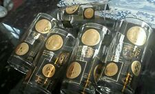Vintage Barware Gold Coins Cocktail Highball Glasses 8 Mid Cent Heavy Gold 1950