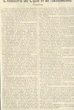 25 ARTICLE DE PRESSE L' INDUSTRIE DU CYCLE & DE L' AUTOMOBILE DANS LE DOUBS 1923