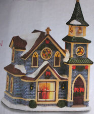 Home Elements~Christmas PORCELAIN LIGHTED VILLAGE CHURCH~NIB