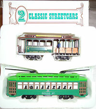 2 Classic Streetcars HO Powell & Mason Cable Car & Desire St Trolley By Bachmann