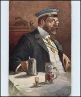 Künstler-AK ~1910/20 Studentika Studentenleben Student beim Trinken Postkarte