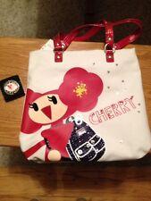 New COACH 15542 POPPY CHAN Cherry Slim Canva Tote Bag Bling Glitter Purse Hanger