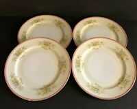 MEITO China Dinner Plates Red Edge Floral Bouquet Scroll MEI416 Japan Set of 4