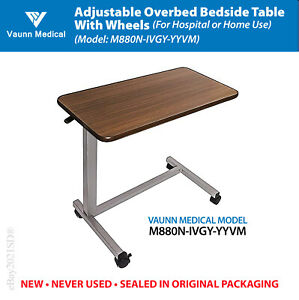 Vaunn Adjustable Overbed Table with Wheels (M880N-IVGY-YYVM ) • BRAND NEW