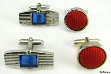 Blue Stone Red Velvet Cuff Links - Estate Vintage Cufflinks 2 Set
