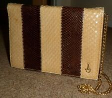 VINTAGE BEIGE BROWN SNAKE LEATHER CLUTCH BAG SMALL CHAIN SHOULDER BAG