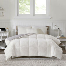 New! ~ Ultra Soft Plush Cozy Reversible Warm Berber White Grey Comforter Set