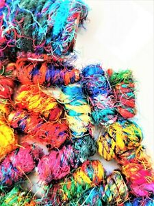 Lot of 60 Handmade Sari Silk Yarn Covered Paper Beads - Multi-Color - Tube Shape